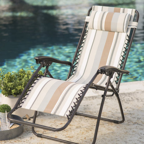 Zero Gravity Reclining Chair with Pillow in Striped Fabric - The Birdhouse Hut
