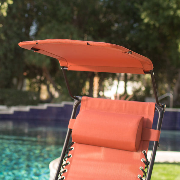 Zero Gravity Chair with Sunshade and Drink Tray in Terra Cotta Fabric - The Birdhouse Hut