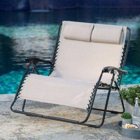 Zero Gravity Patio / Pool Loveseat Recliner in Toffee - The Birdhouse Hut