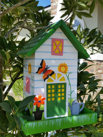 Destiny Garden Bird Feeder White with hand painted Colorful Sunflower Garden and 3-D Butterfly! - The Birdhouse Hut