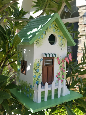 Destiny Garden Birdhouse White hand painted Flower Print, White Pickett Fence and a 3-D Butterfly! - The Birdhouse Hut