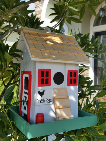 "Farmyard Bird Feeder White Washed Wood Red Trim Wood Shingled Roof and ""Fresh Eggs"" sign! - The Birdhouse Hut"