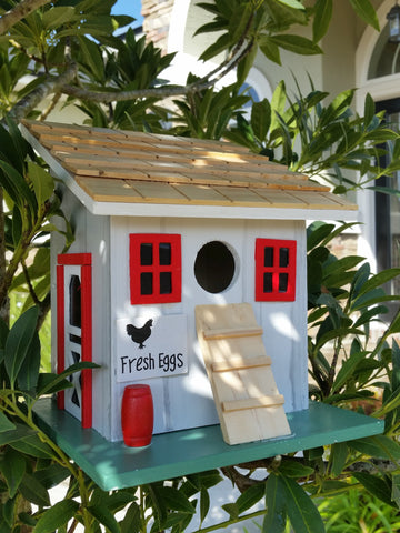 "Farmyard Birdhouse White Washed Wealthered Charm Red Trim Wood Roof and ""Fresh Eggs"" sign! - The Birdhouse Hut"