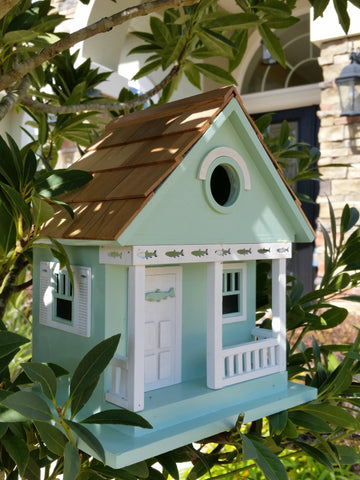 The Birdhouse Hut Fishing Lake Cottage Birdhouse in Teal Green with Pure White Trim and Wood Shingled Roof - The Birdhouse Hut