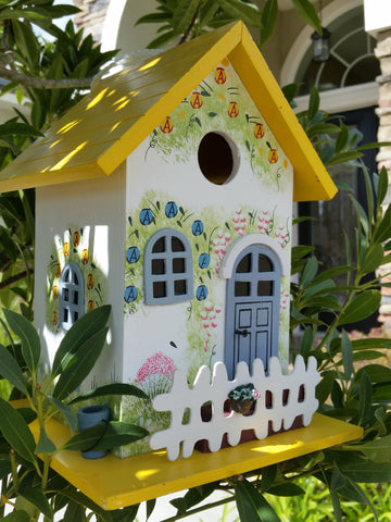 Garden Cottage Birdhouse Amazing hand painted Floral Print White Pickett Fence - The Birdhouse Hut