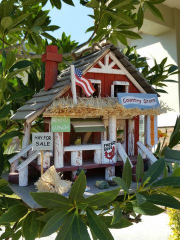 General Store Birdhouse Charming Farmhouse Wood Birdhouse for your Feathered Friends! - The Birdhouse Hut