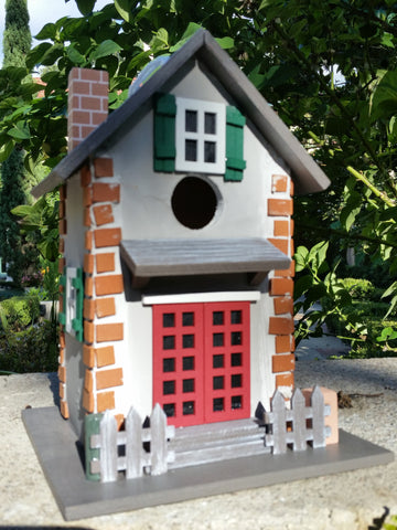 Guest Cottage Birdhouse a  Old Town Cottage Wood Bird House with charming details! - The Birdhouse Hut