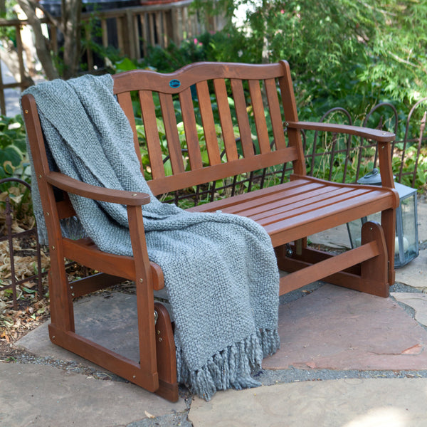 Alpine 4 ft. Wood Outdoor Loveseat Glider perfect for Patio or Front Porch - The Birdhouse Hut
