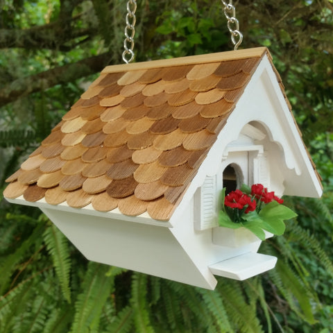 Little White Cottage Wren Birdhouse with Wood Shingled Roof - The Birdhouse Hut