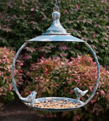 Love Birds Vintage Garden Dome Roof Hanging Bird Feeder - Metal - The Birdhouse Hut