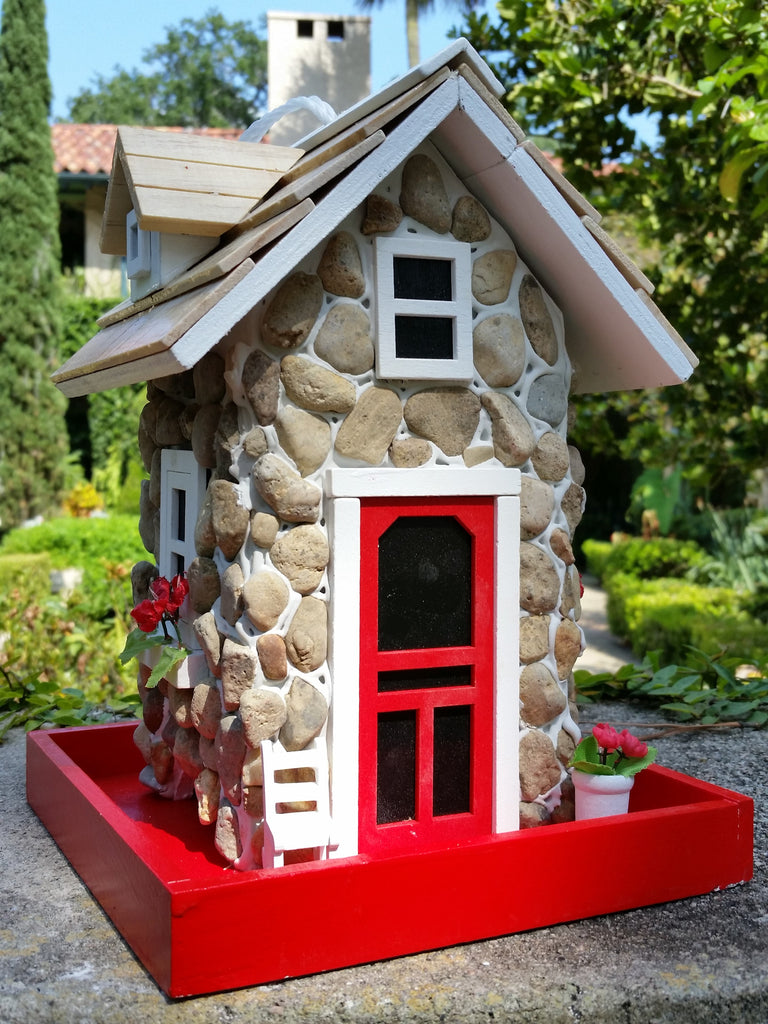 Mountain stone guest cottage bird feeder is an amazingly for Diy stone birdhouse