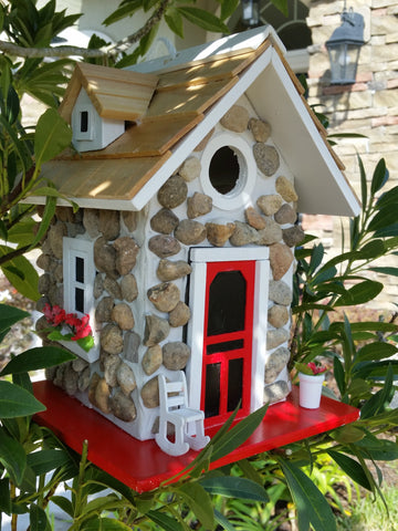 Mountain Stone Guest Cottage Birdhouse Stone Facade and Wood Shingled Roof - The Birdhouse Hut