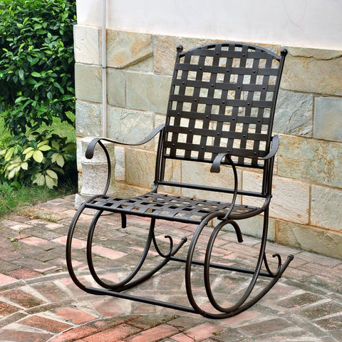 Wrought Iron Nail-Head Patio / Porch Rocking Chair in Brown Finish - The Birdhouse Hut