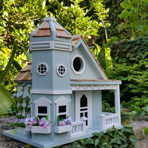 Springfield Flower Cottage Birdhouse is a Beautiful Sky Blue with Pure White Trim - The Birdhouse Hut