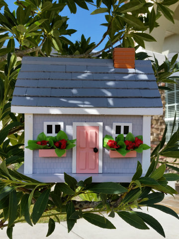 Wine Valley Cottage Birdhouse a Quaint Gray birdhouse featuring Red Flower Window Boxes - The Birdhouse Hut