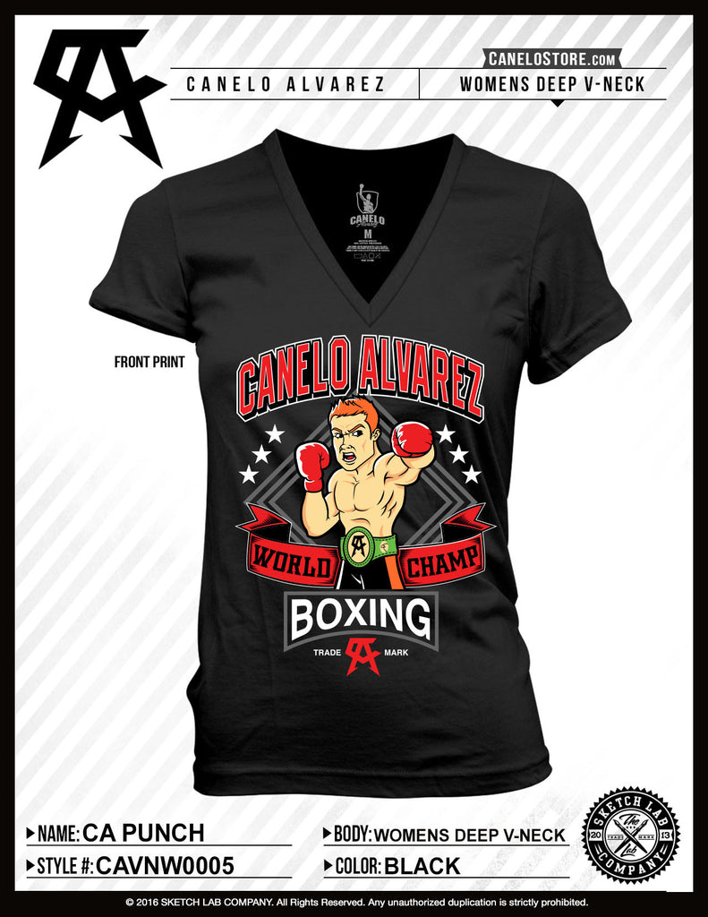 de43db2f Canelo Alvarez Punch Women's Vneck - Bridge City Fight Shop