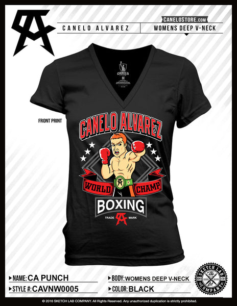 Canelo Alvarez Punch Women's Vneck - Bridge City Fight Shop