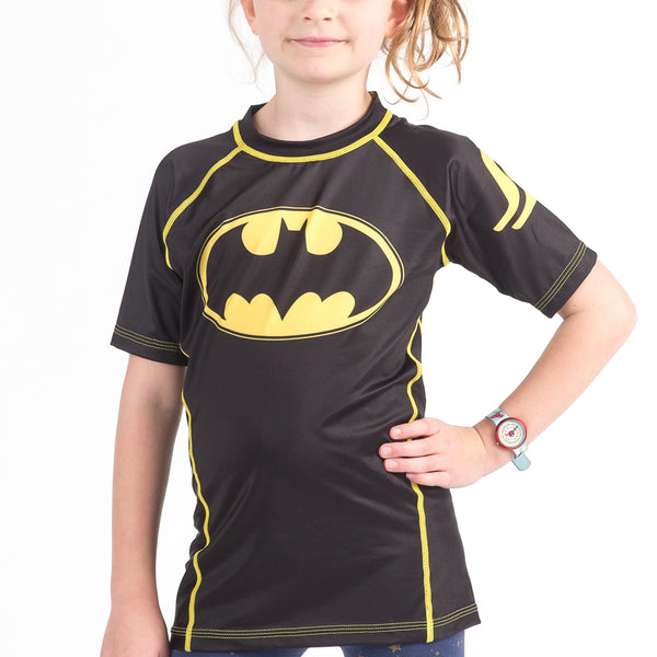 Fusion Batman 1989 Black Logo Kids BJJ Rash Guard - Short Sleeve