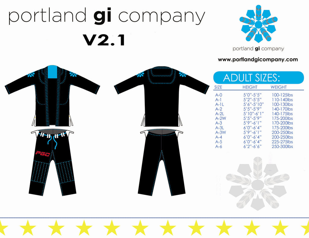 Portland Gi Company Version 2.1: Black Gi W/Blue Stitching