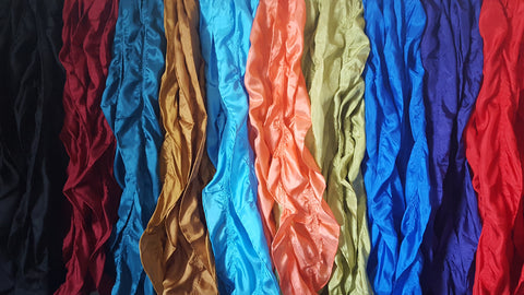 "Silk  Scarf 100% Habotai 8mm  7.5"" x 52""  Solid Bold Colors"