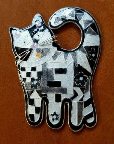 Cat Quilt Kitty Brooch Pin