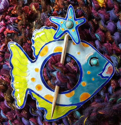 Tropical Fish with SeaStar Friend  Shawl Pin