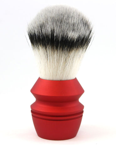 Alpha Stubby Synthetic Fiber Shaving Brush -Big Red