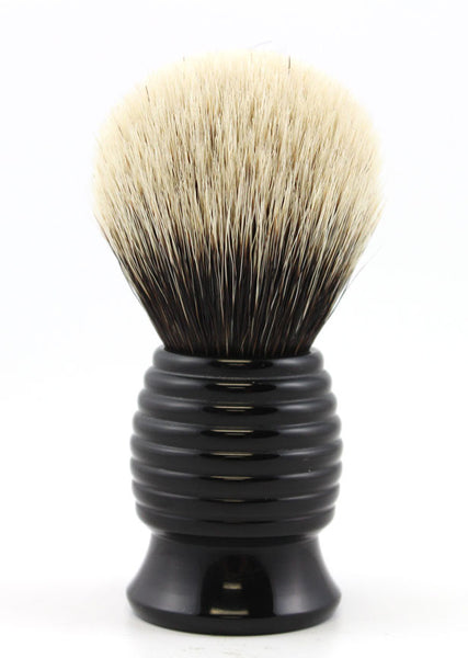 H.L. Thater Black Beehive Brush in Two Band Silvertip Badger (Bulb)