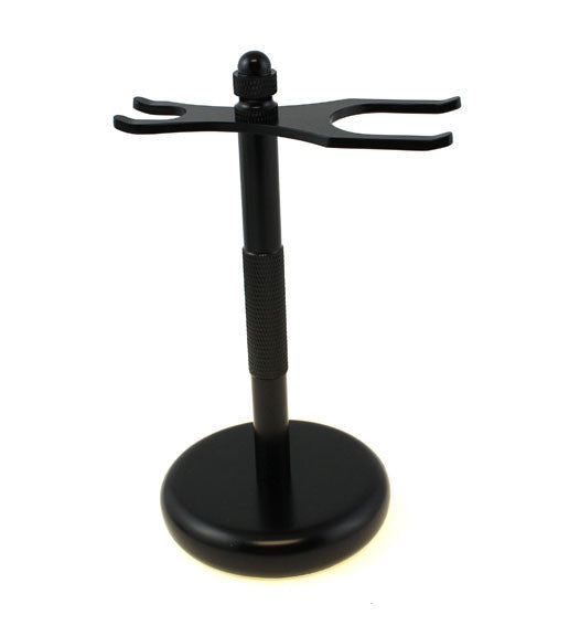 Black Two Prong Razor and Brush Stand