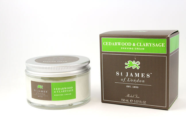 St. James of London Shaving Cream -Cedarwood & Clarysage (150ml)