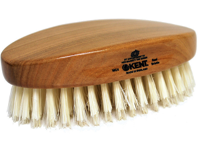 Kent MC4 Travel Size Military Hair Brush with Pure Bristles in Cherry Wood Handle
