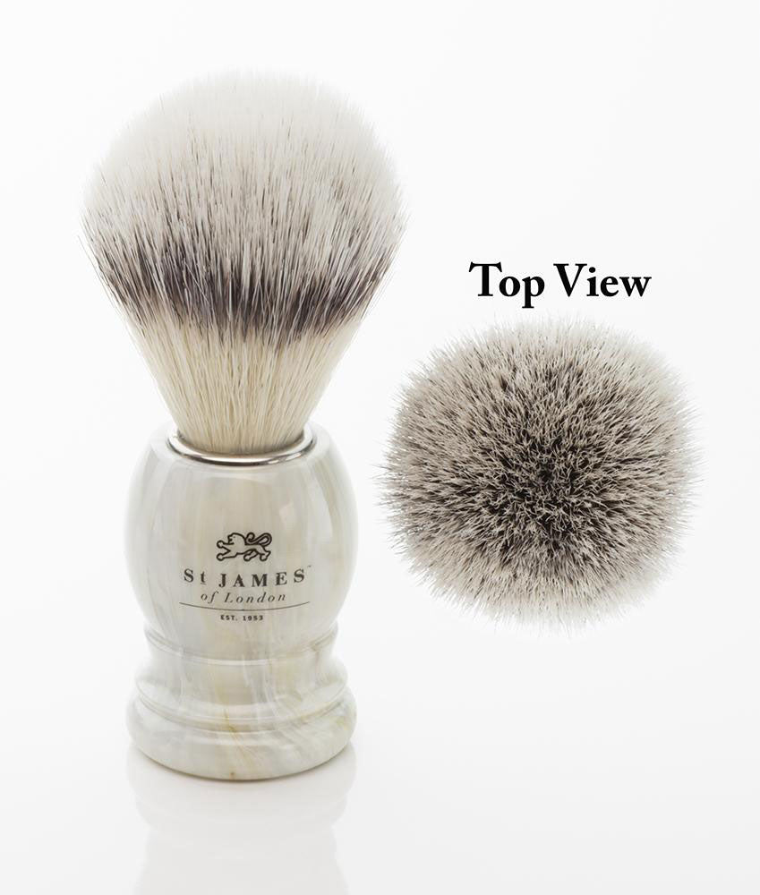 St. James of London Hand Tied Synthetic Fiber Shaving Brush -Alabaster
