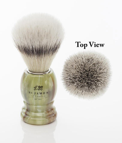 St. James of London Hand Tied Synthetic Fiber Shaving Brush -Malachite