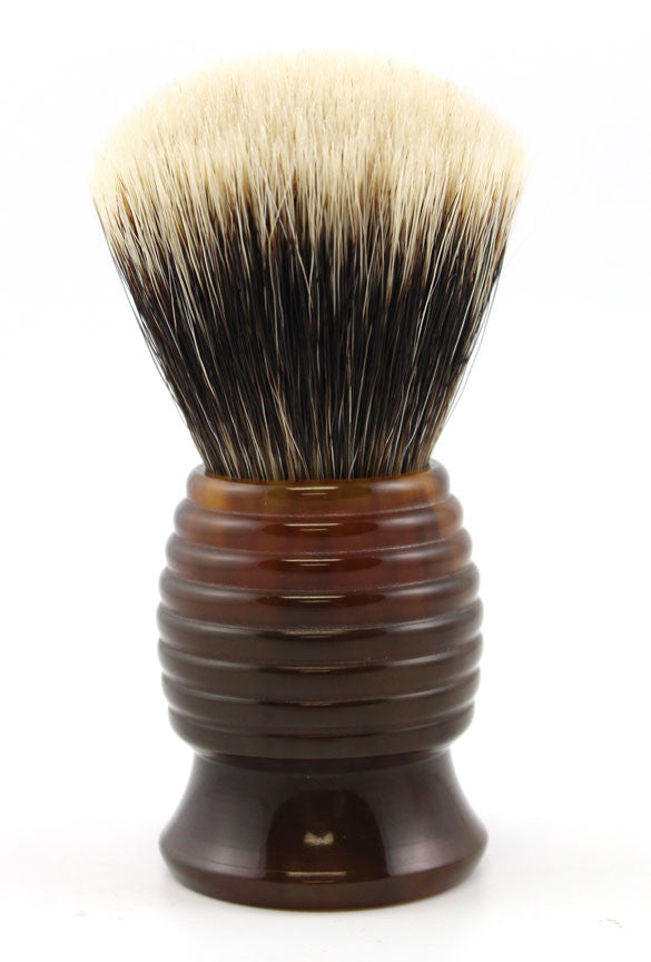 H.L. Thater Tortoise Resin Beehive Brush in Two-Band Silvertip Badger (Fan)
