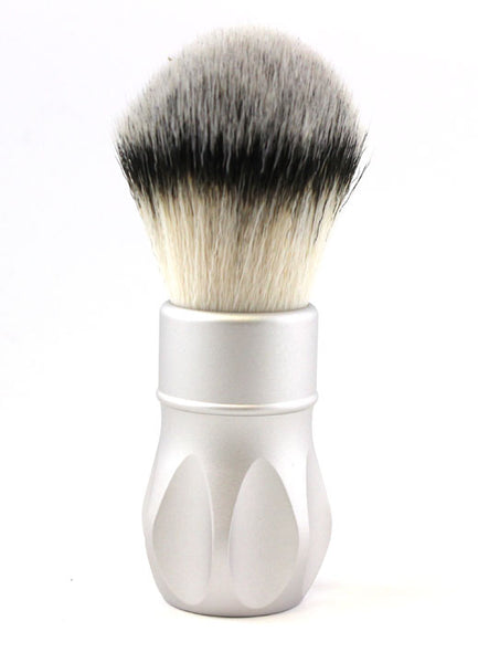Alpha Outlaw V1 Synthetic Fiber Shaving Brush in Matte Silver