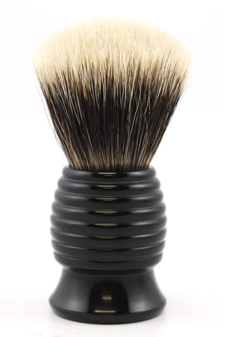 H.L. Thater Black Resin Beehive Brush in Two band Silvertip Badger (Fan)