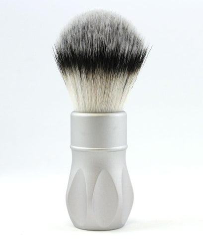 Alpha Outlaw V2 Synthetic Fiber Shaving Brush -Matte Silver