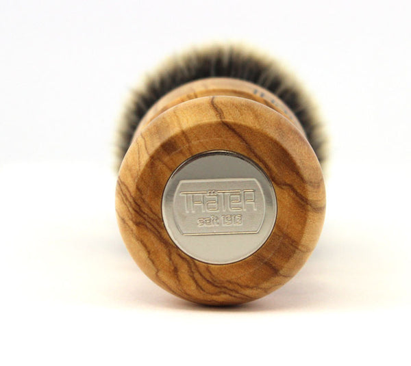 H.L. Thater Special Edition Olive Wood Brush in Two band Badger -Fan Rounded Knot