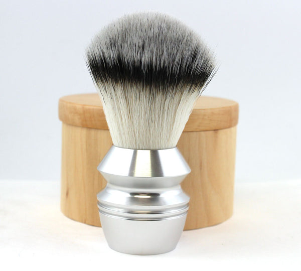 Alpha Stubby Synthetic Fiber Shaving Brush -Silver