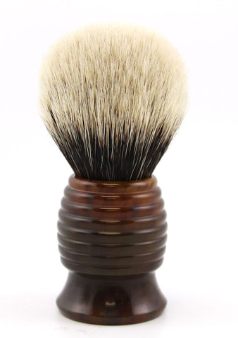 H.L. Thater Tortoise Beehive Brush in Two band Silvertip Badger (Bulb)