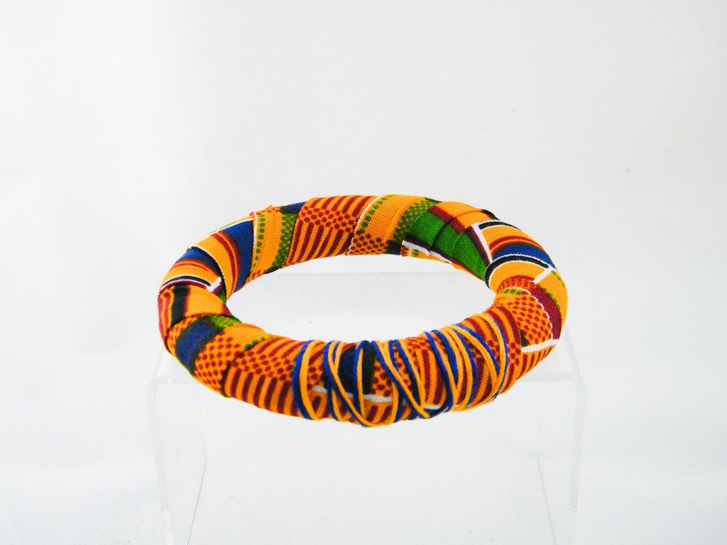 Ashanti Kente Print Thick Round Bangle Bracelet