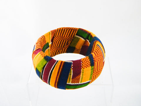 Ashanti Kente Print Thick Bangle Bracelet