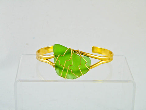 Coney Island - Green/Gold Sea Glass Wire Wrapped Cuff Bracelet