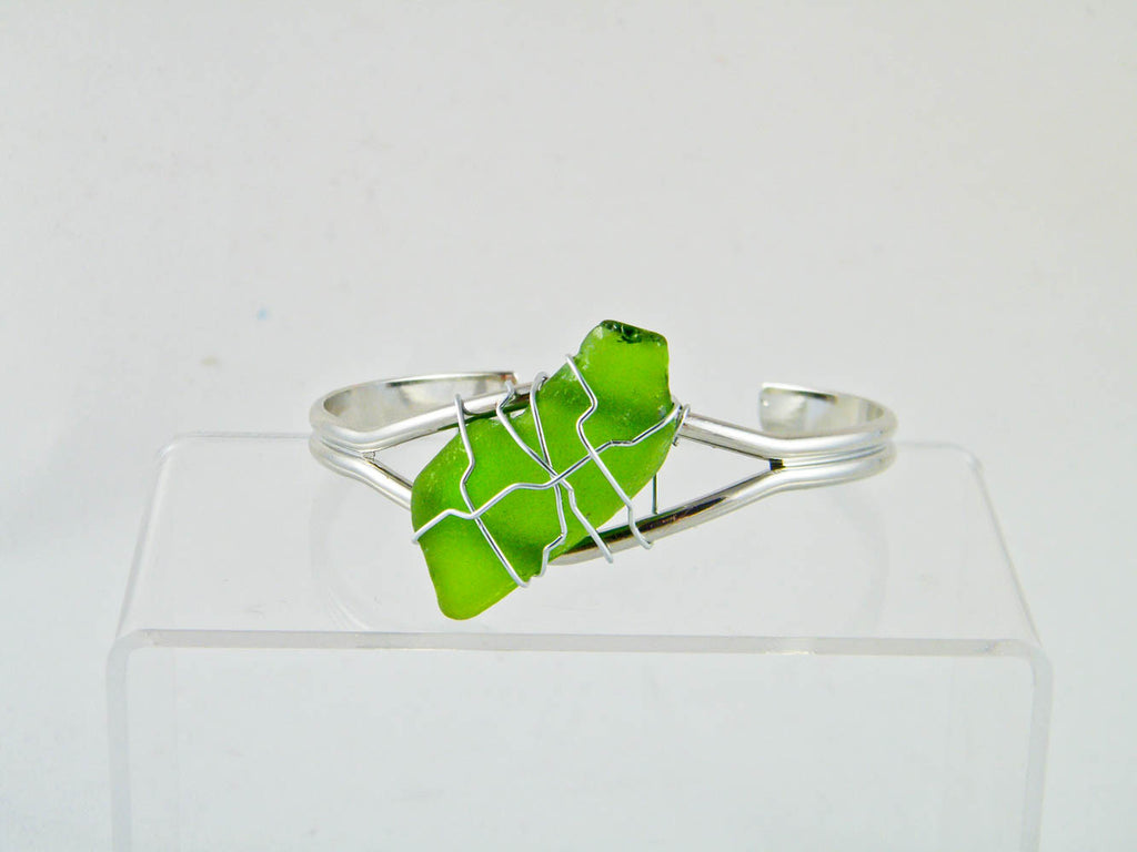 Coney Island - Green/Silver Sea Glass Wire Wrapped Cuff Bracelet