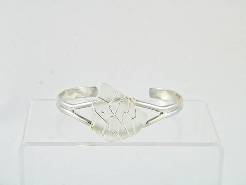 Coney Island - Clear/Silver Sea Glass Wire Wrapped Cuff Bracelet (Triangle)