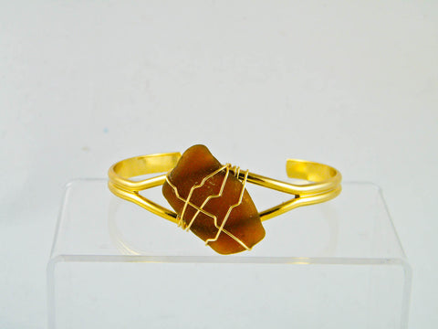 Coney Island - Brown/Gold Sea Glass Wire Wrapped Cuff Bracelet