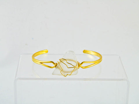 Coney Island - Clear/Gold Sea Glass Wire Wrapped Cuff Bracelet (Small)