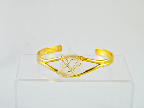 Coney Island - Clear/Gold Sea Glass Wire Wrapped Cuff Bracelet