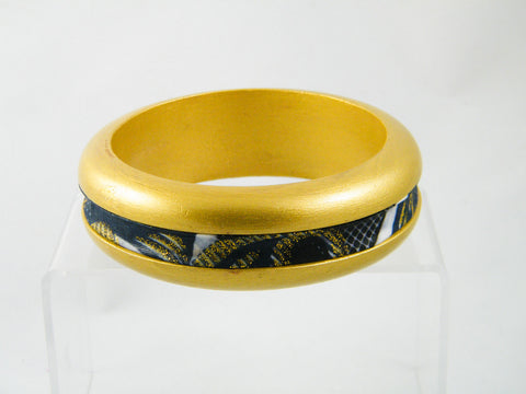 Moja Metallic Ankara Strip Bangle Bracelet