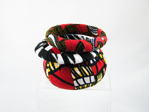 Binah/Cher/Makossa Ankara & Animal Print Three Bangle Stack